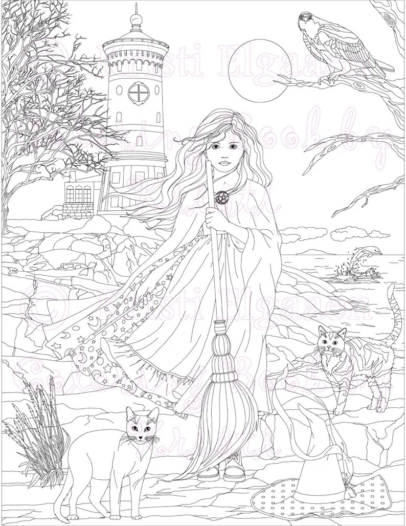 little witches and wild things adult coloring page fantasy