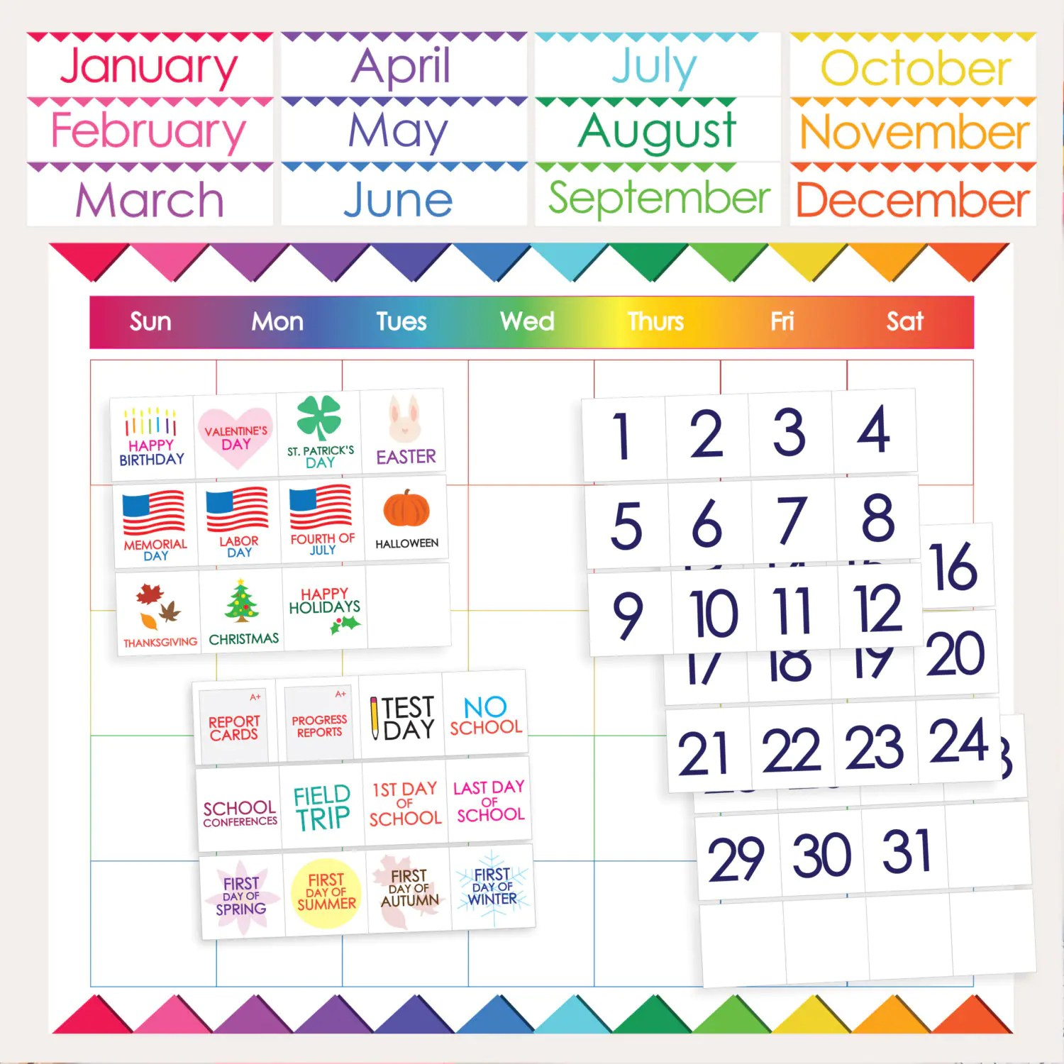 Classroom Calendar Printable Months Days Holidays Numbers