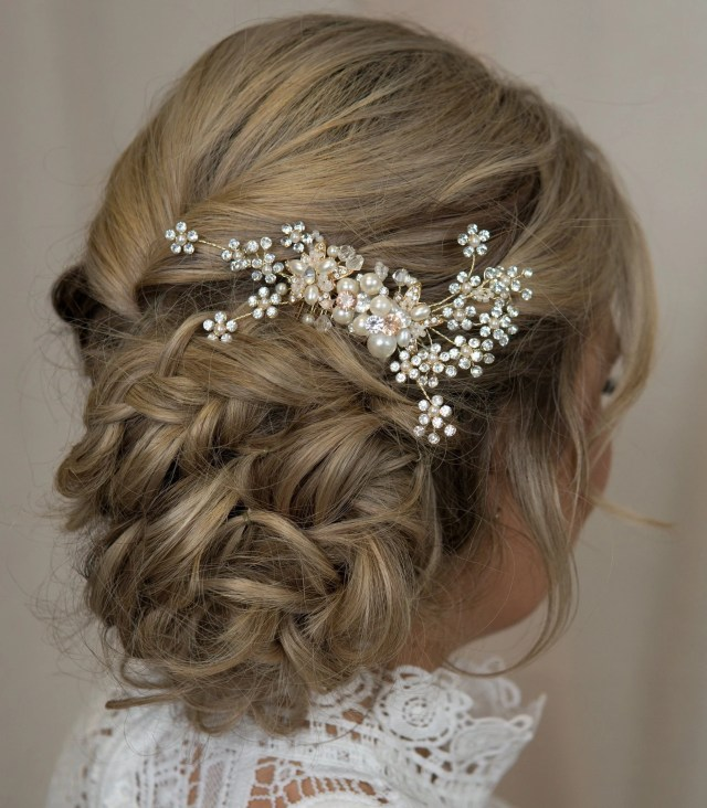 crystal bridal hair vine side comb swarovski bride hair accessories custom wedding headpiece hairpiece gold alloy crown tiara jeweled