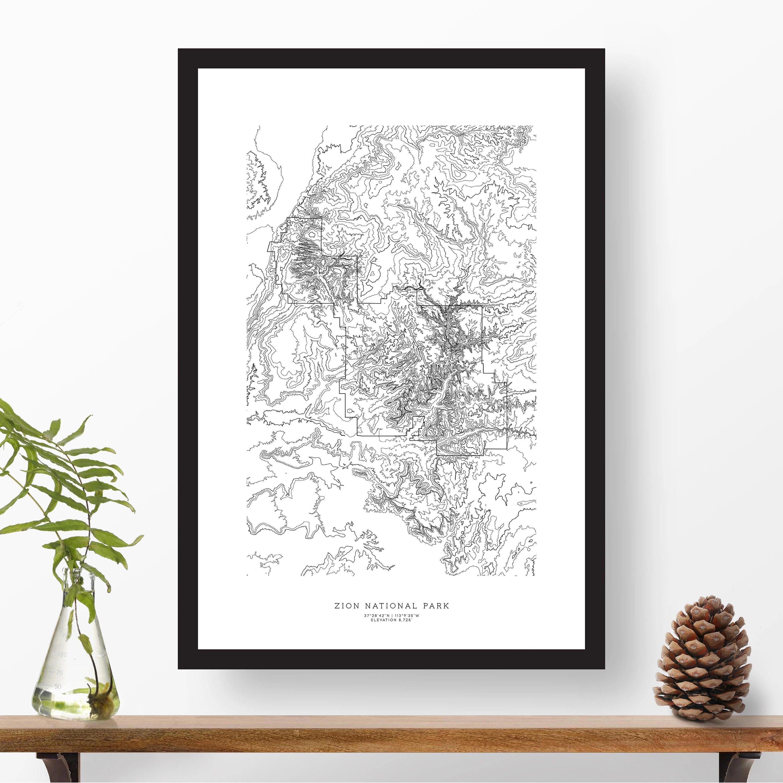 Zion National Park Utah Topographic Print Contour Map Map