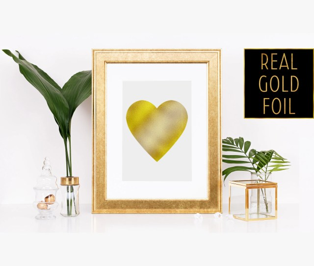 Gold Foil Heart Art Foiled Heart Print Foil Heart Print Foil Heart Decor Gold Heart Picture Cute Nursery Decor Golden Heart