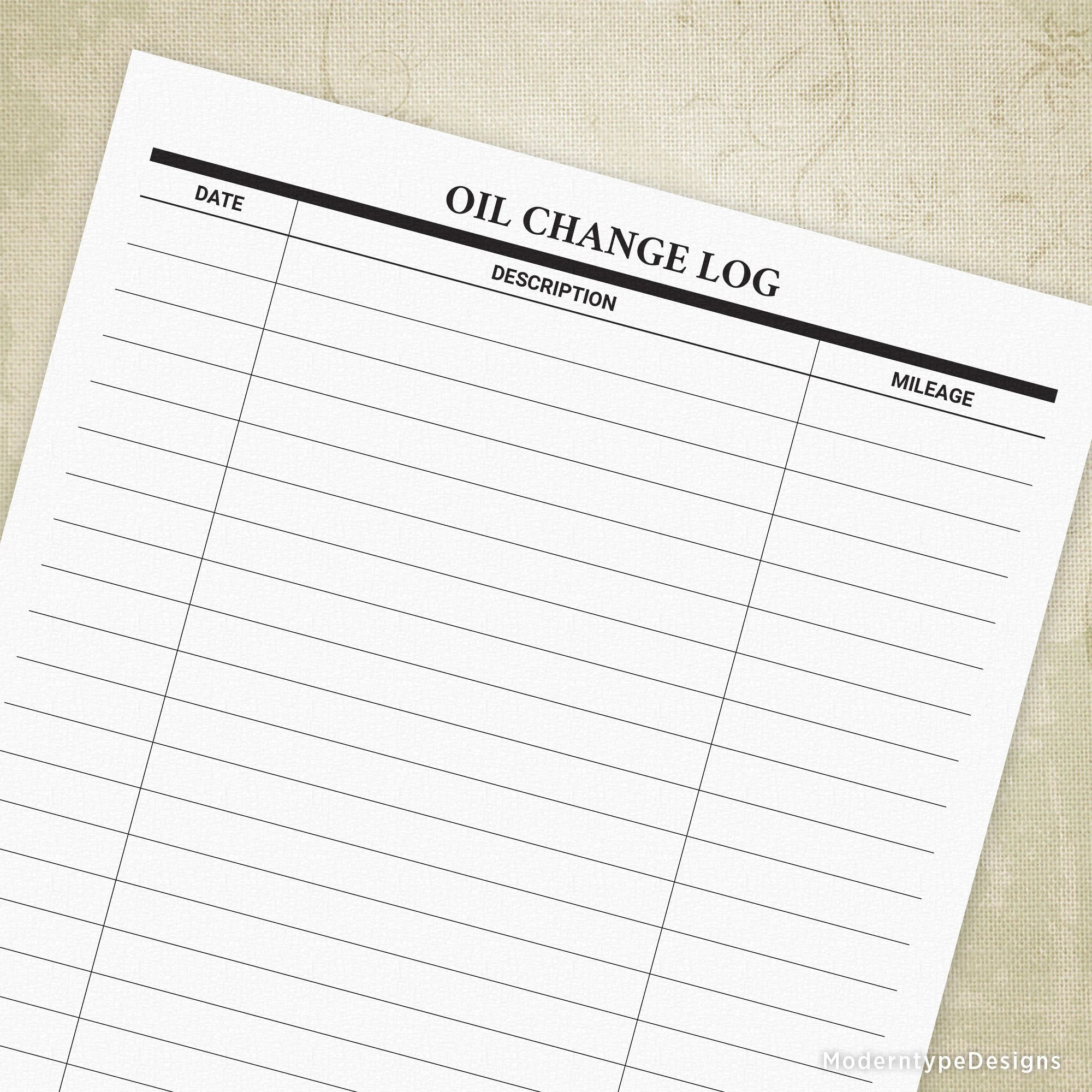 Christopher neiger so how often should you replace your engine's oil? Oil Change Log Printable Form Car Maintenance Tracker Mower Etsy
