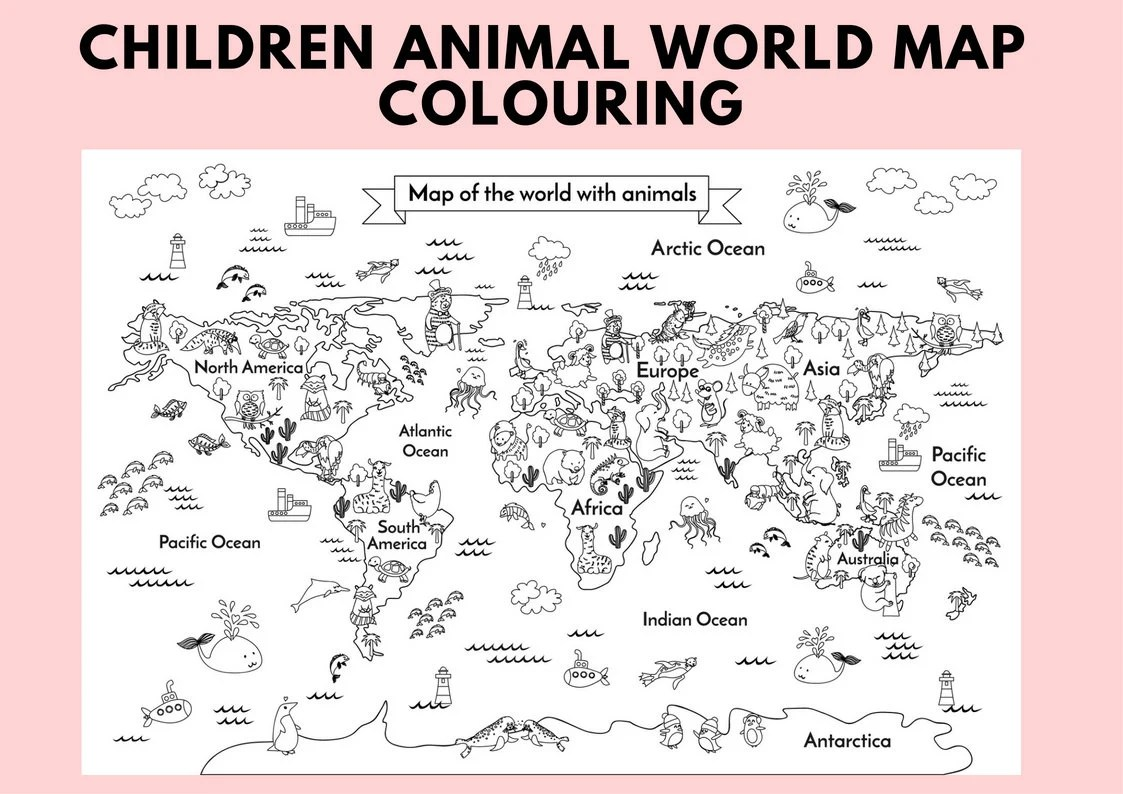 Printable Animal Kids World Map Children Body Coloring