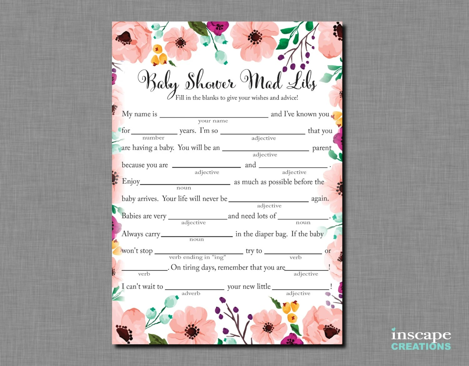 Baby Shower Mad Libs Game Printable Madlibs Floral Baby