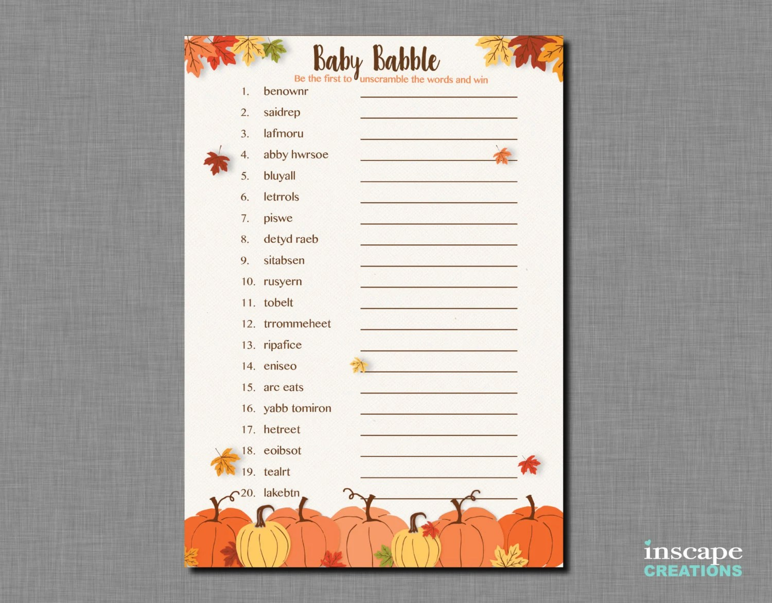 Pumpkin Baby Shower Word Scramble Game Printable Baby