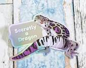 Asexual Pride Gecko Quote Sticker secret dragon funny ace meme grsd / gsd / lgbtqia+ Pride Flag animal holographic vinyl decal leopard gecko