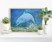 Giclée Art Print, Leaping Bottlenose - A4 size watercolour painting by Wild Portrait Artist, illustration of a jumping dolphin