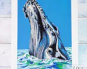 Giclée Art Print 'Whale' - A4 size illustration in paint markers of a humpback whale spyhopping by Wild Portrait Artist, Inktober 2018