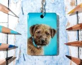 Hand-made Custom Pet Portrait Keychain, hand drawn original keyring artwork, handmade commission on wood in colored pencils