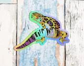 Nonbinary Pride Gecko Large Holo Sticker - Subtle grsd / gsd / lgbtqia+ Pride Flag, enby leopard gecko animal pride holographic vinyl lizard