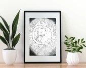 Giclée Art Print 'Tranquil' - A4 size pen drawing of a sleeping dormouse by Wild Portrait Artist, Inktober 2018, mouse, rodent, cute