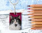 Handmade Custom Pet Portrait Keychain, hand drawn original keyring artwork, personalised commission on wood in colored pencils