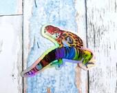 Progress Pride Gecko Large Holo Sticker - Subtle grsd / gsd / lgbtqia+ Pride Flag, leopard gecko animal pride holographic vinyl lizard decal