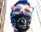 MOLLIE SKULLS BLACK Handmade Wearable Art Face Mask Reusable 100% Cotton 3-layer Cover Hospital-Grade Filter & Nose Clip