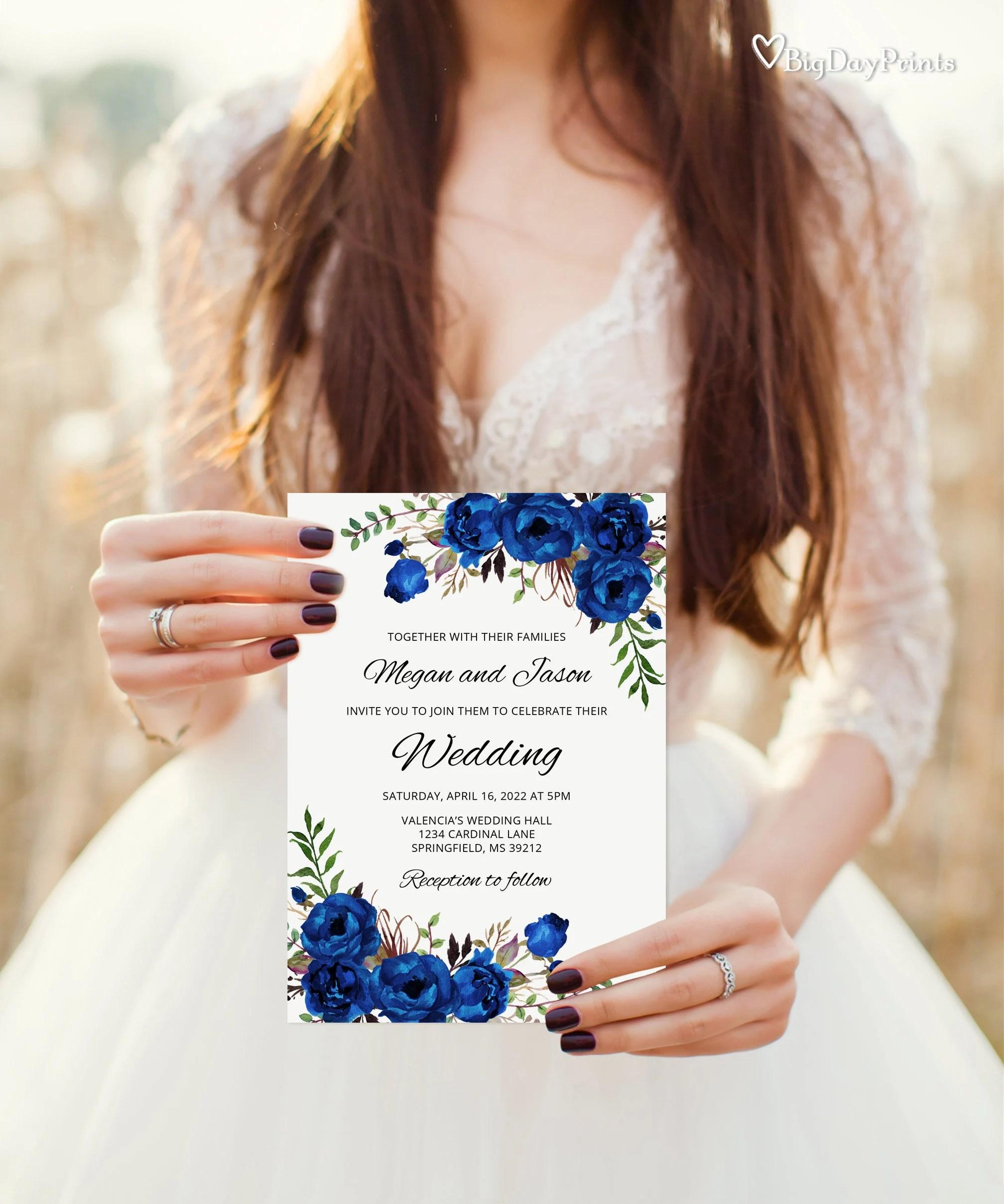 royal blue wedding invitation blue wedding invitation template boho chic wedding invitation suite floral wedding set templett a016