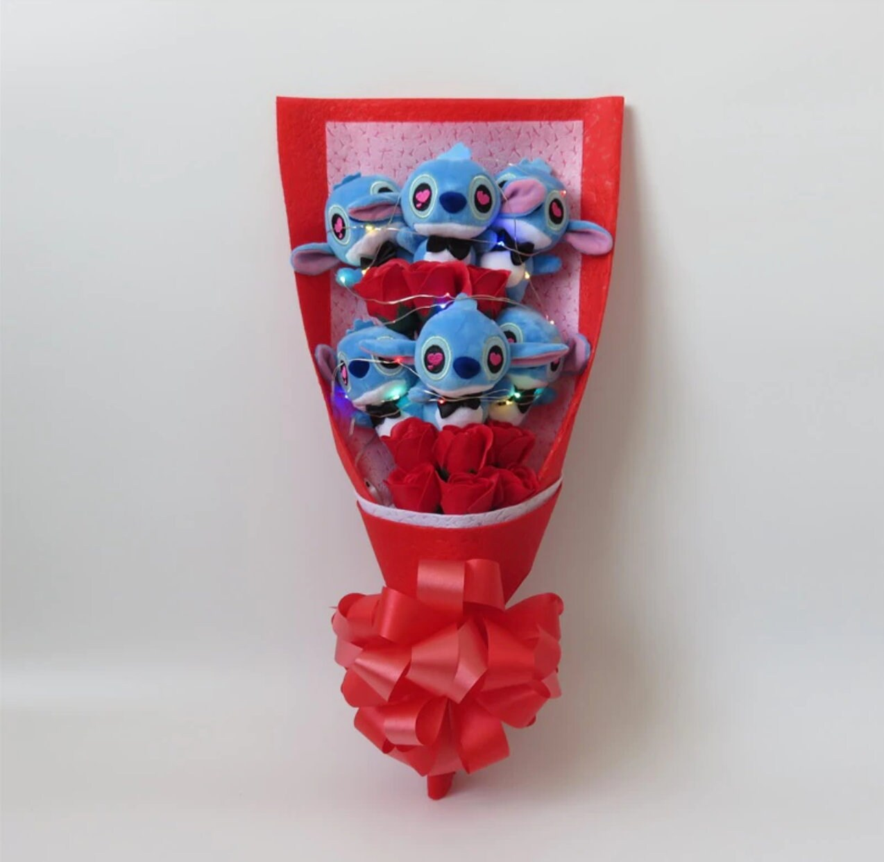 Inspired by Disney Stitch and Lilo stuffed cartoon bouquet Red