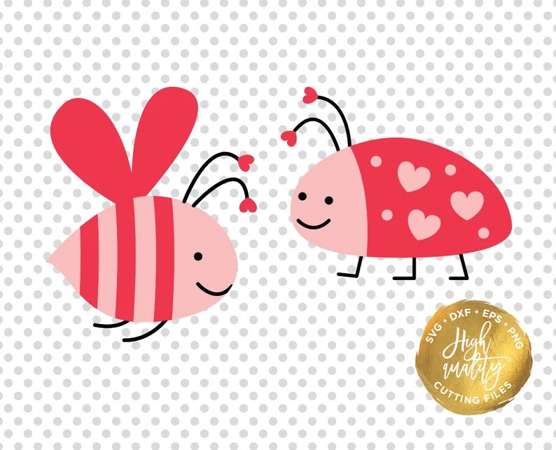 Download Love Bug SVG DXF Cutting File Valentine's Day Svg Dxf | Etsy