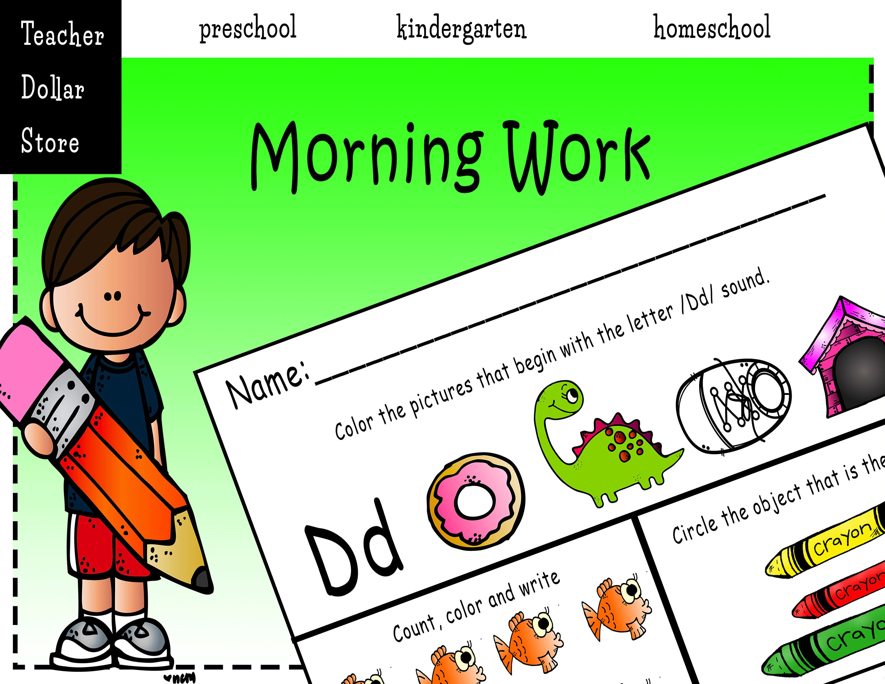 Worksheets Morning Work For Preschool Kindergarten And