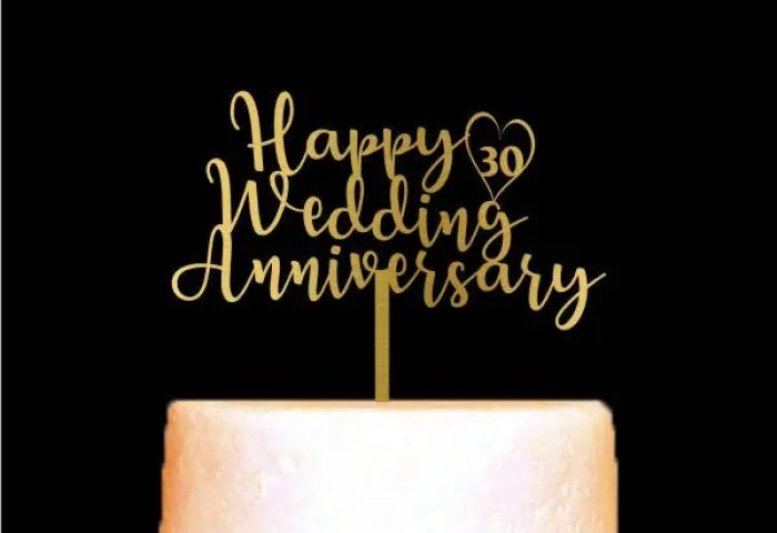 Happy Wedding Anniversary Cake Topper Custom Number Etsy