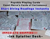 INK SPLATTER PSYCHIC Deck - Playing Cards for Psychics! Give Psychic Readings Instantly!