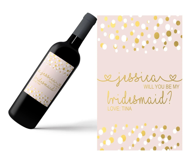 Mini Champagne Bottle Labels / Wine Labels/ Custom Name Label image 1