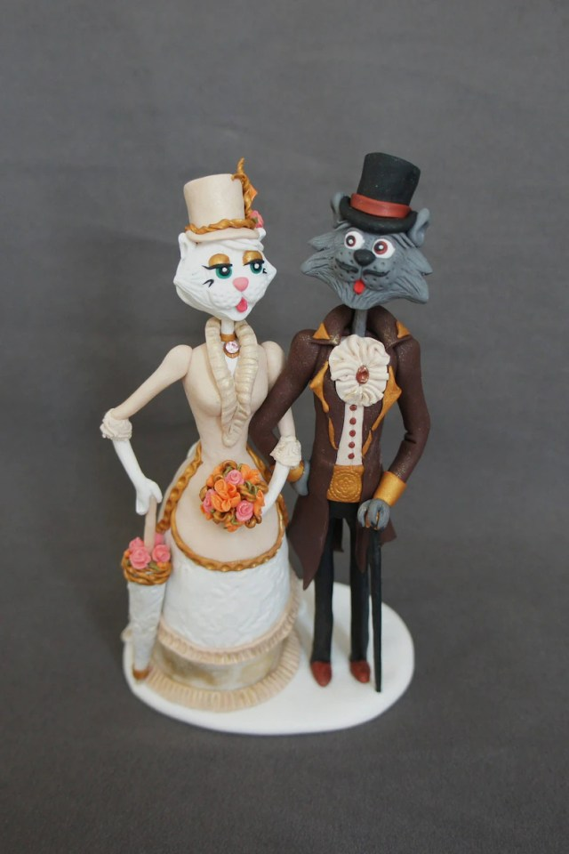 Cat wedding topper Cats in love Wedding cake topper Retro style Gothic Romantic cats Cute cats Victorian Steampunk Historical suit
