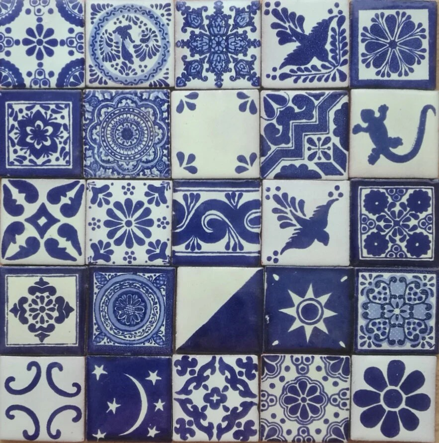 white mexican ceramic hand made tiles