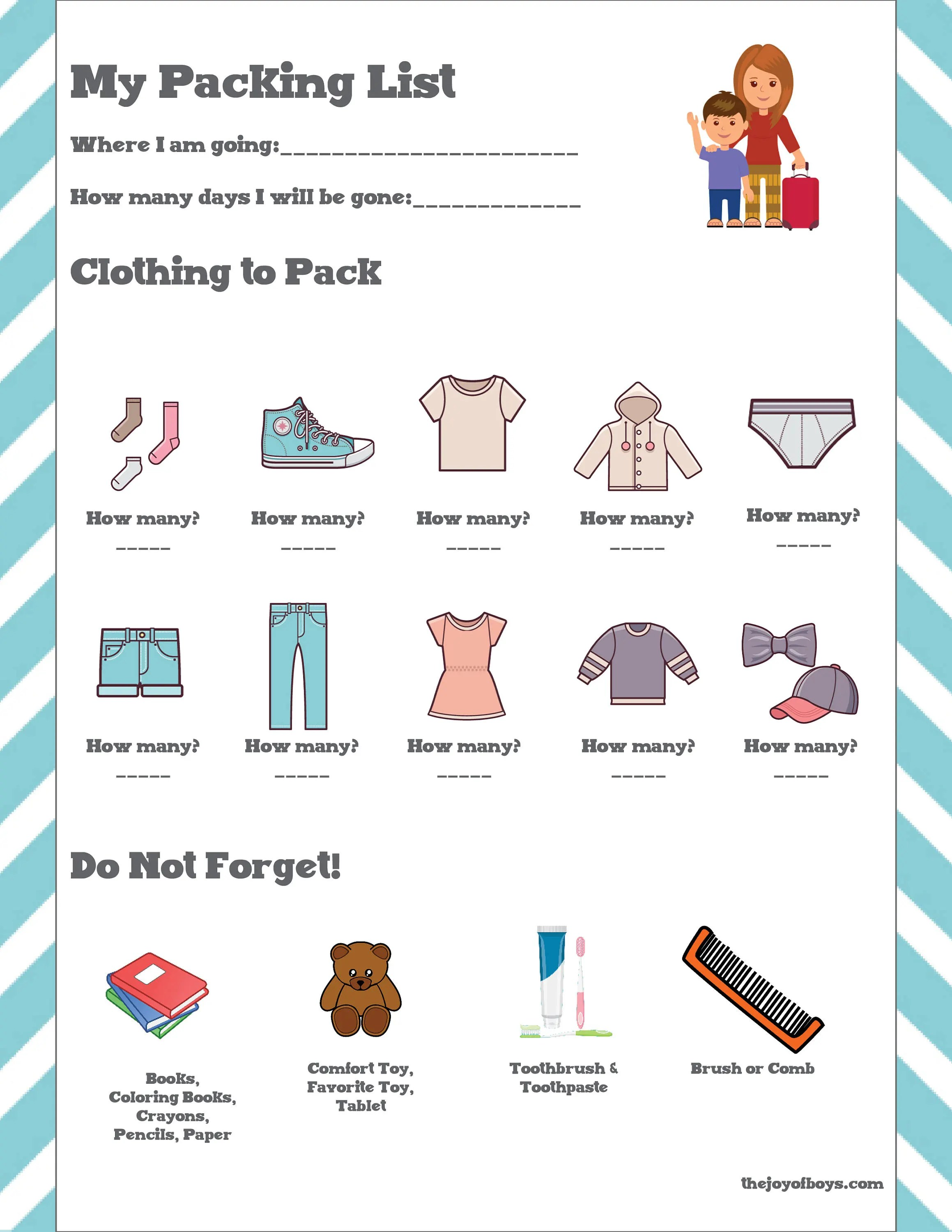 Kids Packing List Vacation Packing List Travel Packing List