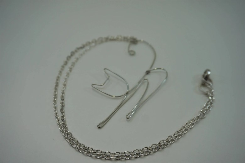 Silver Wire Cat Necklace,...