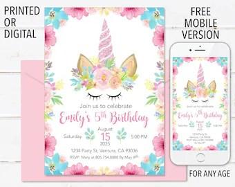 printed unicorn invitation etsy