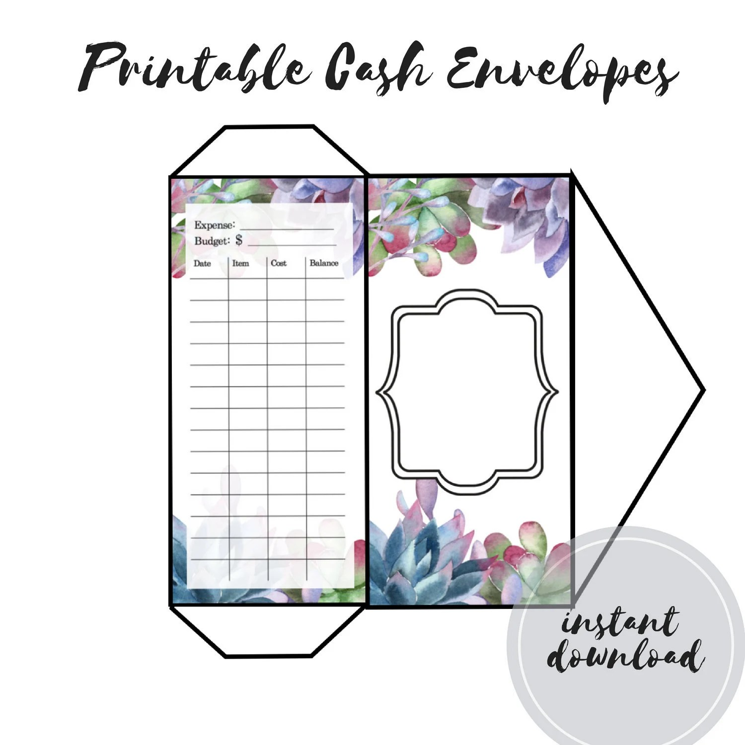 Printable Cash Envelopes Template Cash Wallet Budget