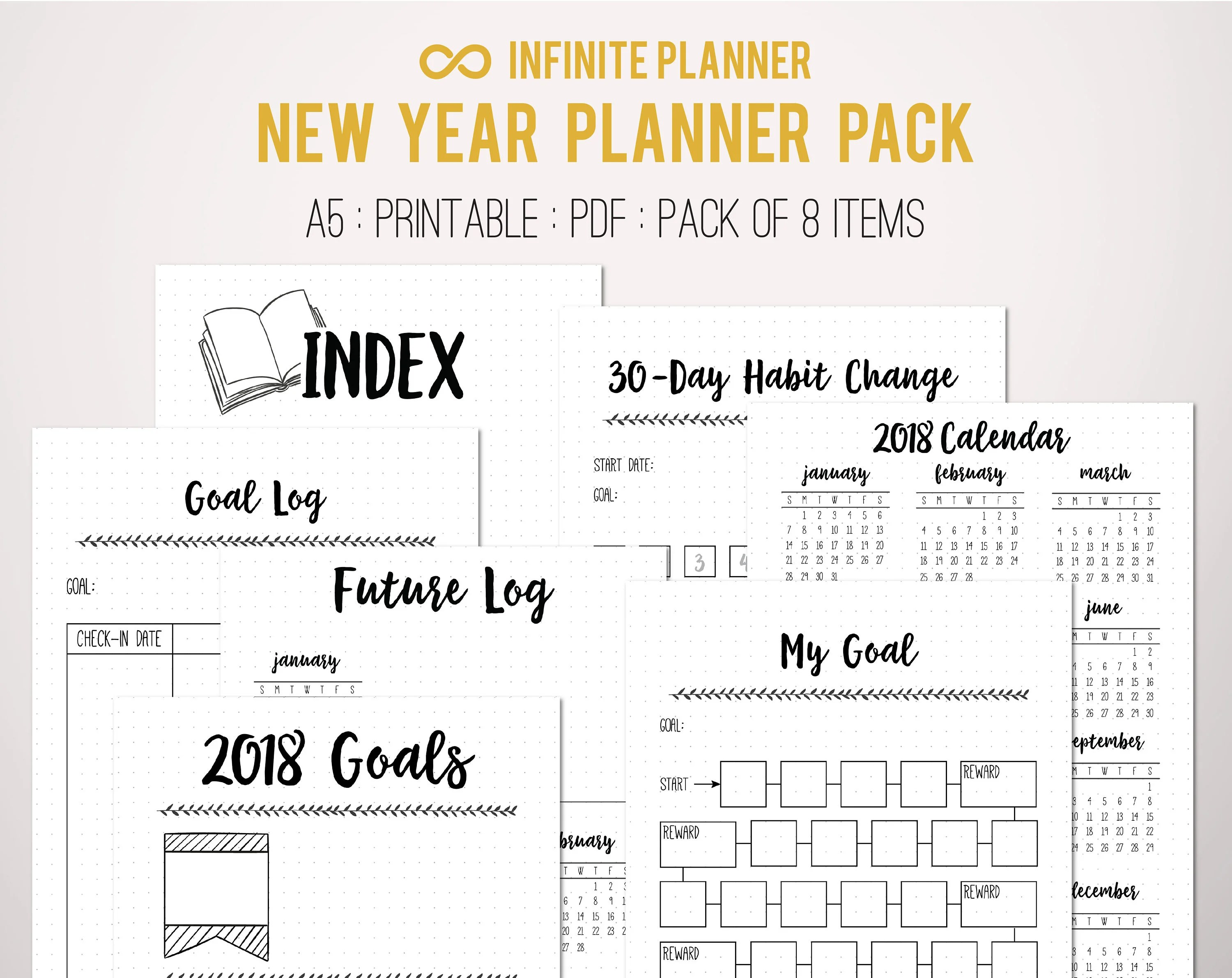 New Year Bundle Bullet Journal Printable