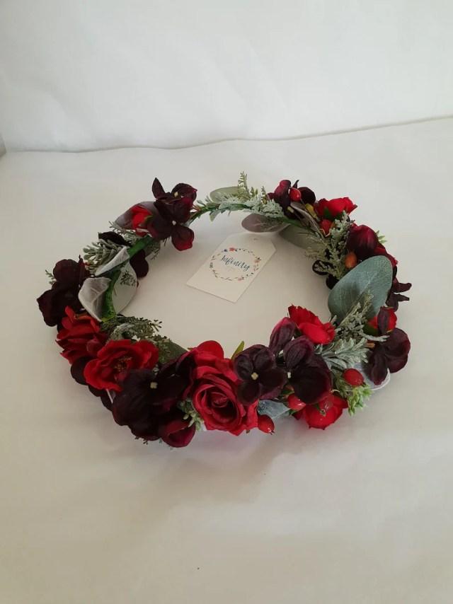artificial floral hair crown - wedding hair accessories - flower hair crown - bridal hair pieces-red flower hair crown-burgundy hair wreath