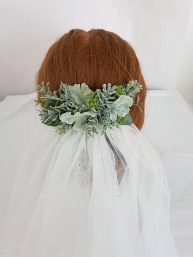 artificial foliage bridal hair barrette-wedding hair accessories-veil hair comb-bridal hair pieces-rustic hair pieces-wedding head pieces