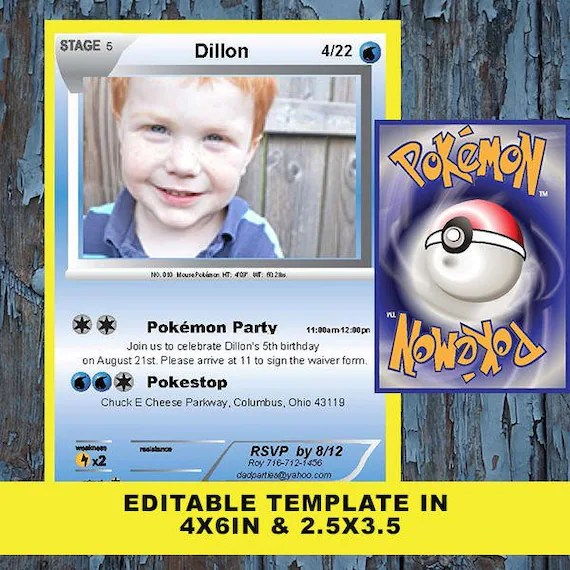 pokemon invitation pokemon card pokemon birthday invitation pokemon pokemon party pokemon template pokemon birthday pokemon invite