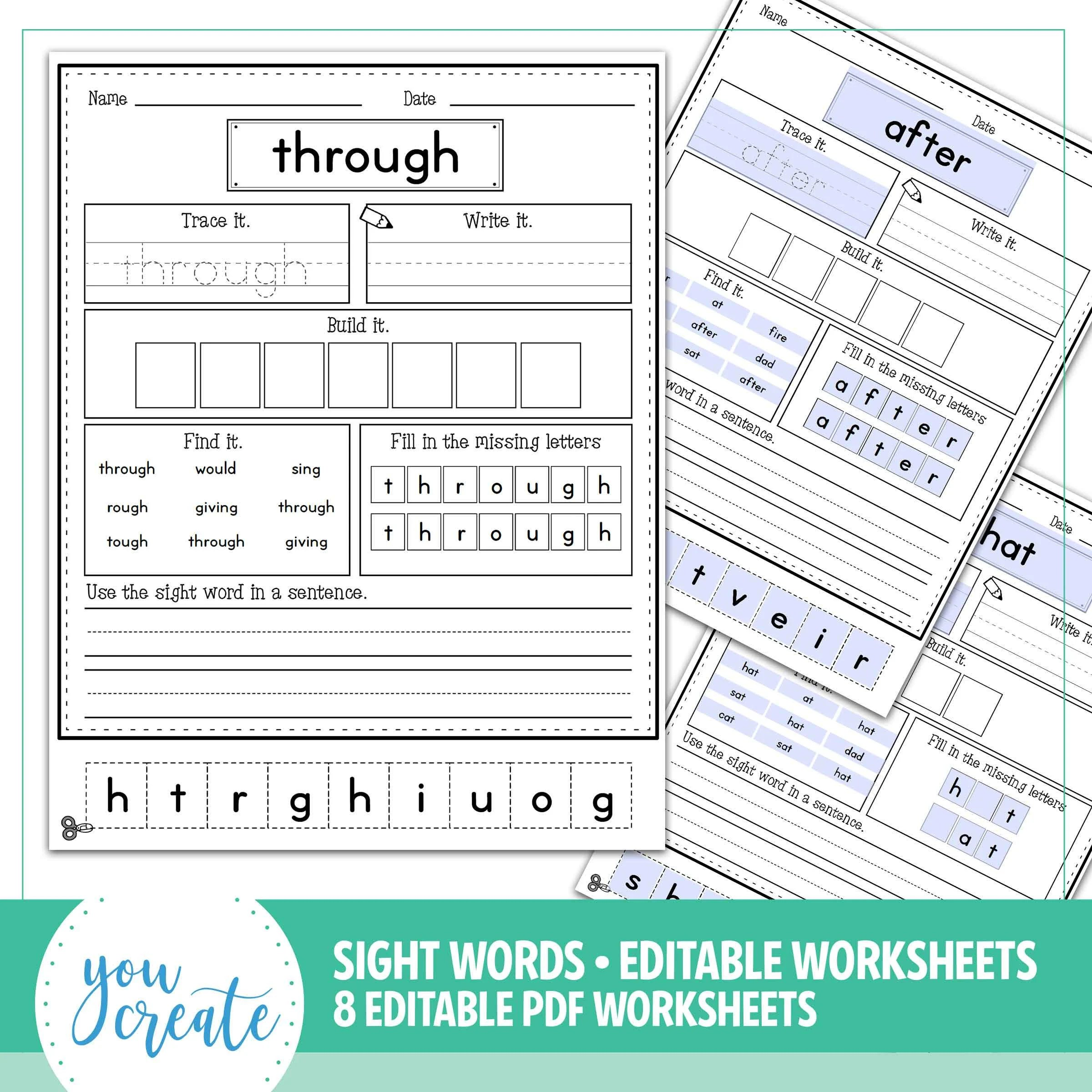 Sightword Worksheets Create Your Own Editable 2 Thru 9