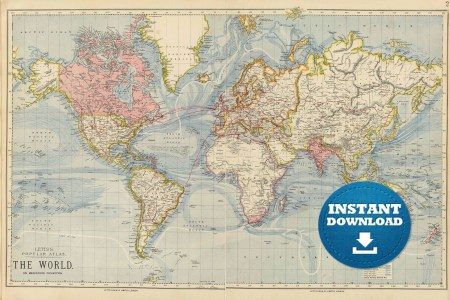 Vintage world map printable path decorations pictures full path vintage world map printable map print instant digital download vintage world map printable map print instant digital download printable map nursery art old gumiabroncs Image collections