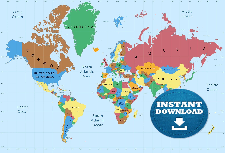 Digital Modern World Map Printable Download Weltkarte