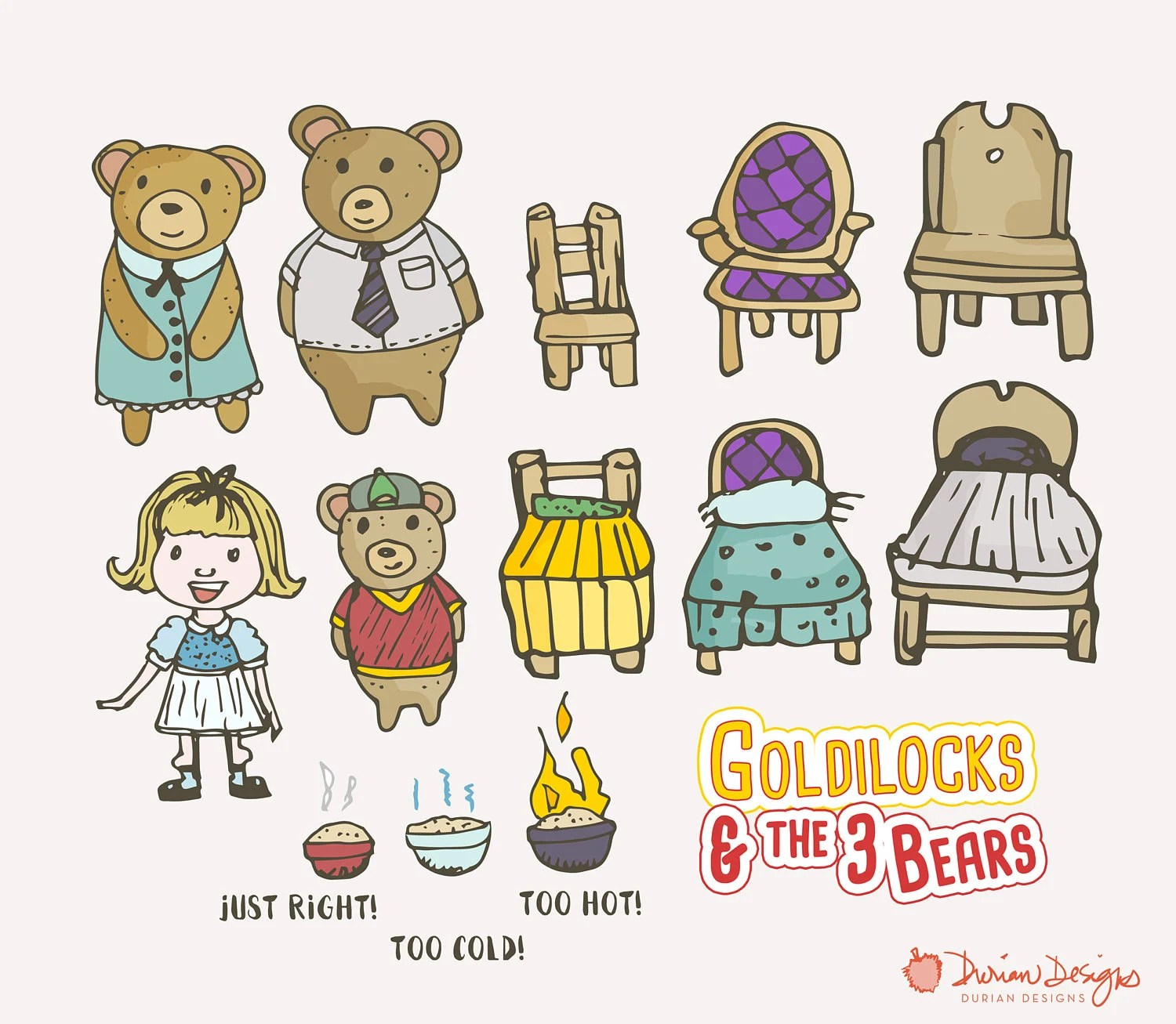 Goldilocks Amp Three Bears Clipart Commercial Use Fairytale