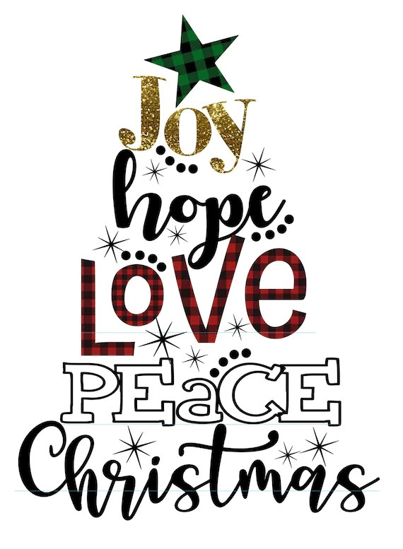 Download Joy Hope Love Peace Christmas Buffalo Plaid SVG INSTANT | Etsy