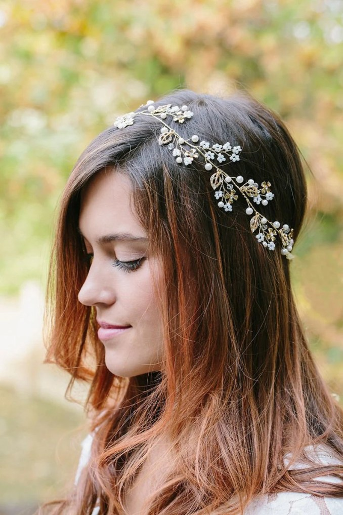 bridal gold leaf hair vine, gold hair vine, gold or silver headband, gold flower headband, flower wreath, bride hair accessories