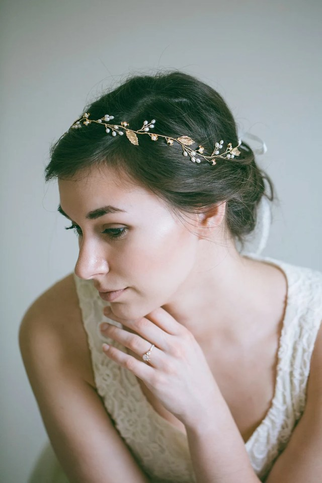 bridal hair vine, gold leaf hair vine, leaf wreath, gold headband, gold hair vine, flower hair vine, bride hair accessories, leaf hair vine