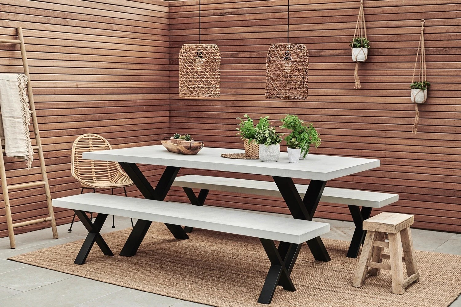 concrete outdoor dining table with steel x frame etsy