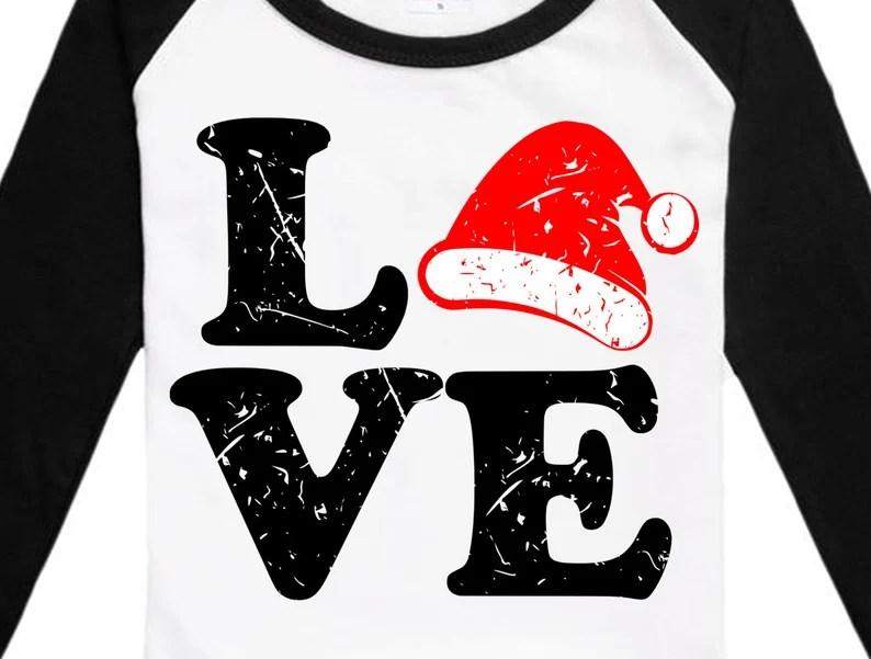 Download Distressed Love Santa SVG Santa hat svg file for Cricut | Etsy