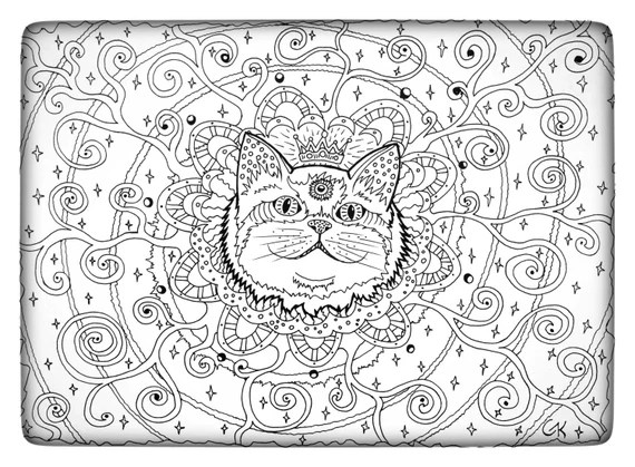 Coloring Page Instant Download Spiritual Cat Round Third Eye Etsy
