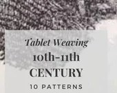 Viking tablet weaving patterns, basic and intermediate chart to create colorful belts and dress bordures for reenactors