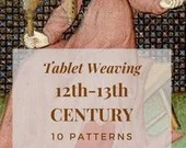 Medieval 12th 13th century tablet weaving patterns, basic and intermediate chart to create colorful belts and dress bordures for reenactors