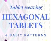 Hexagonal tablet weaving patterns, basic chart to create colorful belts and decorative bordures for medieval dresses, gift idea for weavers