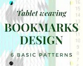 Tablet weaving bookmark patterns, basic chart to create colorful bookmarks, immediate download pdf patterns