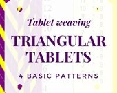 Triangular tablet weaving patterns, pdf file for beginners with colorful illustrations, gift idea for weavers